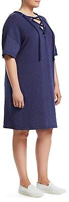 Slink Jeans, Plus Size Women's Lace-Up Cotton Hooded Dress