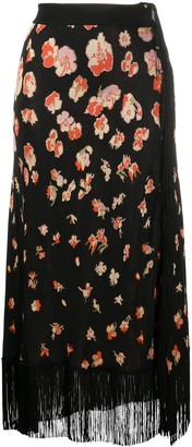 Paco Rabanne Floral Fringed Skirt