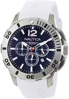 Nautica Men's BFD 101 Dive Style Chrono N16568G White Resin Quartz Watch with Black Dial