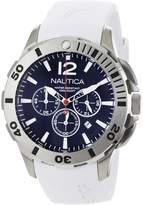 Nautica Men's BFD 101 Dive Style Chrono N16568G White Resin Quartz Watch with Black Dial