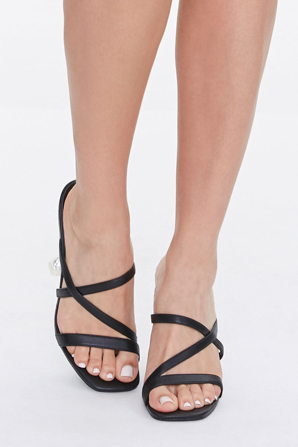 Thumbnail for your product : Forever 21 Strappy Faux Leather Heels