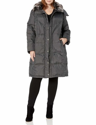London Fog Women's Plus Size Fur Collar Down with Hood