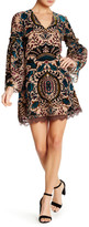Alexia Admor 3/4 Sleeve V-Neck Embroidered Velvet Multicolor Dress