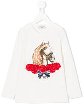 MonnaLisa horse printed top - kids - Cotton/Spandex/Elastane - 4 yrs