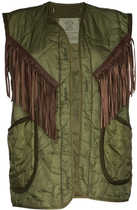 R 13 Fringed Quilted Vest