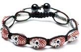 Crimson Skull Shamballa Bracelet | Shamballa Bracelet | Hip Hop Jewelry | Skull Bangle Bracelet (by BAGATI CRYSTO)