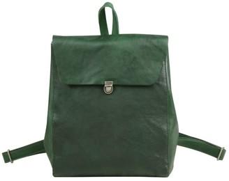 Touri Handmade Genuine Leather Slim Backpack In Emerald Green