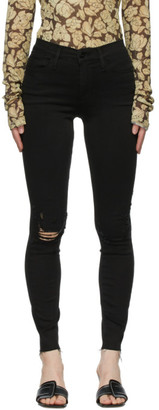 Frame Black Le High Skinny Raw Edge Jeans