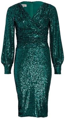 Teri Jon By Rickie Freeman Blouson Sleeve Sequin Sheath Dress