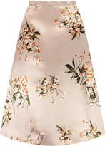 Rochas Floral-print satin midi skirt