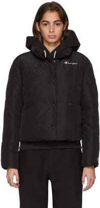 Champion Reverse Weave Black Back Script Logo Puffer Jacket