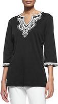 Joan Vass 3/4-Sleeve Embroidered Tunic, Plus Size