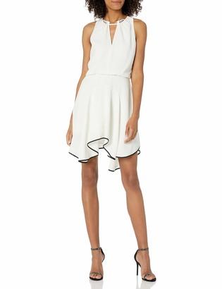 Halston Women's Sleeveless Round Neck Colorblocked Flounce Skirt Dress