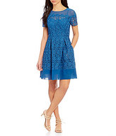 Anne Klein Sheer Neck Short Sleeve Crochet Lace Fit & Flare Dress