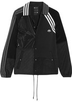 Adidas Originals By Alexander Wang - Patch Shell, Stretch-jersey And Faux Patent-leather Jacket - Black