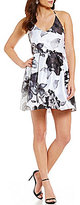 Midnight Doll Floral-Print X-Back Skater Party Dress