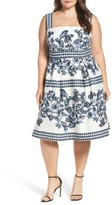 Vince Camuto Plus Size Women's Print Cotton Fit & Flare Sundress