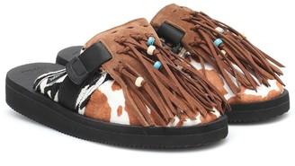 Alanui x Suicoke printed calf hair slippers