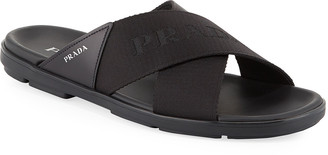 Prada Men's Crisscross Logo-Web Slide Sandals