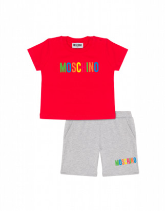 Moschino T-shirt And Shorts Combination With Multicolor Logo Unisex Red Size 3a It - (3y Us)