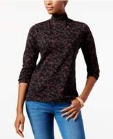Karen Scott Printed Mock Turtleneck Top, Created for Macy's