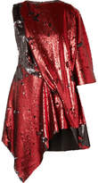 Marques Almeida Marques' Almeida - Draped Asymmetric Sequined Tulle Mini Dress - Red