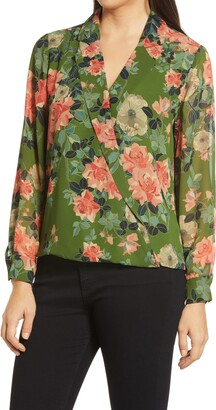 Vince Camuto Guilded Floral Print Wrap Top