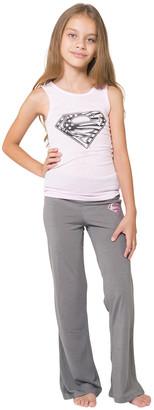 Intimo Girls' Sleep Bottoms PR769: - Supergirl White & Gray Logo Pajama Set - Girls