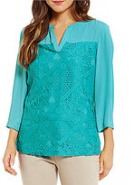 Investments 3/4 Sleeve Lace Overlay Top