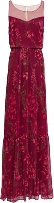 Marchesa Point D'esprit-paneled Floral-print Georgette Gown