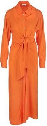P.A.R.O.S.H. Chemisier Long Dress In Orange Satin
