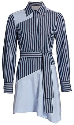 Derek Lam 10 Crosby Flora Asymmetrical Pieced Shirtdress