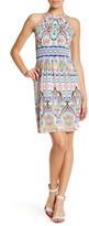 London Times Print Jersey Halter Dress (Petite)