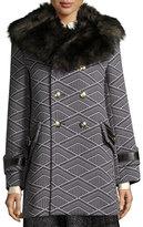 Marc Jacobs Geo-Diamond Techno Coat with Fur Collar