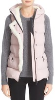 Moncler Women's Comte Water Resistant Down Vest With Genuine Shearling Trim
