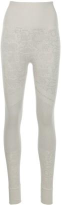 adidas by Stella McCartney Ribbed Snakeskin-Effect Knitted Leggings