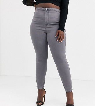 ASOS DESIGN Curve rivington high waisted jeggings in smokey grey wash