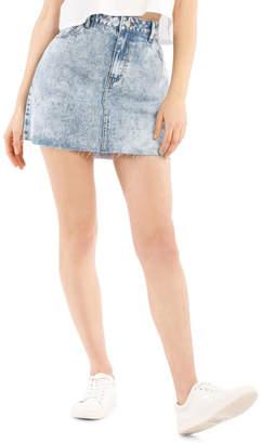 Miss Shop Raw Edge Denim Skirt - Acid Wash Mid