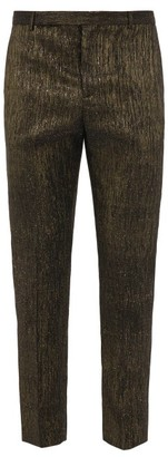 Saint Laurent Metallic-pinstripe Tailored Trousers - Black Gold