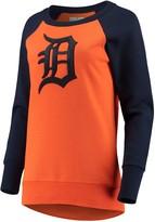 G Iii Women's G-III 4Her by Carl Banks Orange Detroit Tigers Top Ranking Tunic Raglan Crew Sweatshirt