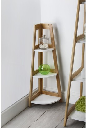 Lloyd Pascal Denver Bamboo 3-Tier Corner Shelf Unit- Natural & White