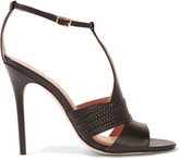 Halston Connie woven-trimmed leather sandals