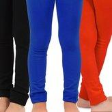 TeeHee Kids Naartjie Kids Girls Fleece Inner Brushed Leggings 3 Pack, Coral+Royal+Black, 6-8 Years