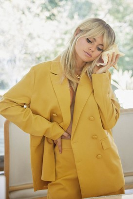 Nasty Gal Womens Relaxed Blazer with Decorative Pockets - Mustard