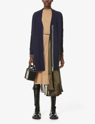Sacai Contrast-panel wool and shell jacket