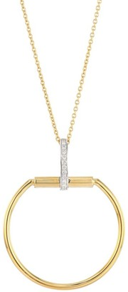 Roberto Coin Classic Parisienne Circle Diamond, 18K White Gold and 18K Yellow Gold Pendant Necklace