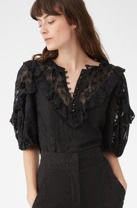Rebecca Taylor Floral Vine Embroidered Ruffle Top