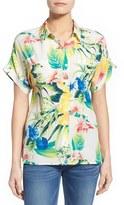 Tommy Bahama Women's 'Fleur De Lite' Print Silk Boyfriend Shirt