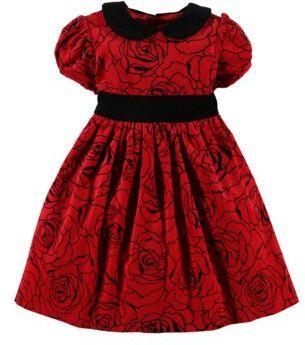 Hartstrings Baby Girls Printed Rose Velveteen Dress & Diaper Cover Set