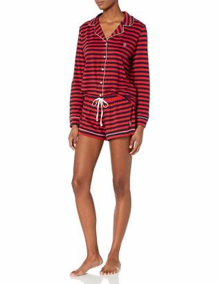 Tommy Hilfiger Women's Long Sleeve Pj Top and Short Notch Collar Pajama Set